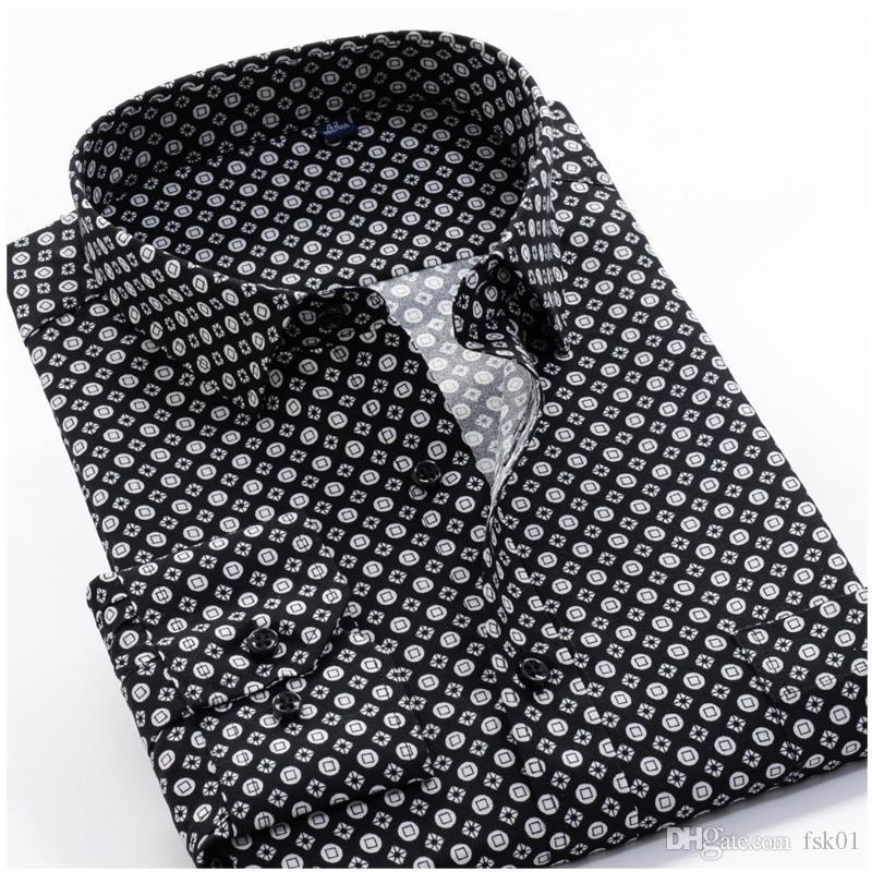 Tamanho Grande 8XL 9XL 10XL VROKINO Marca Imprimir Business casual clássico Moda vestido de camisa de mangas Homens Long 2020 Floral Vintage