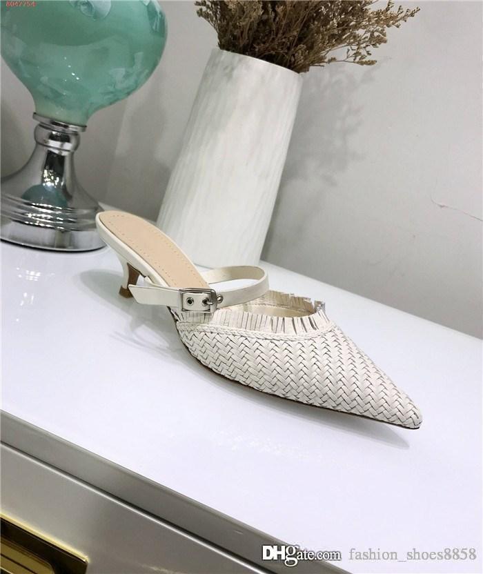 Para mujer últimas sandalias de tacón bajo, elementos metálicos de celosía trenzadas, los pies en punta zapatos de tacón alto para las mujeres sandalias de los deslizadores de embalaje Matching