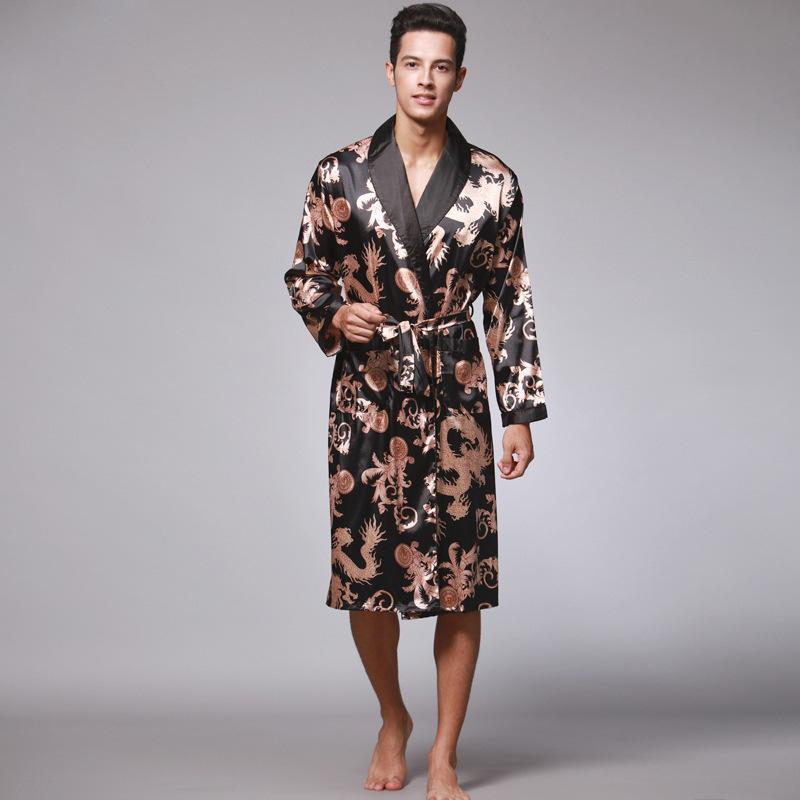 Silk long-sleeved men's pajamas long nightgown bathrobe men's home wear WP032
