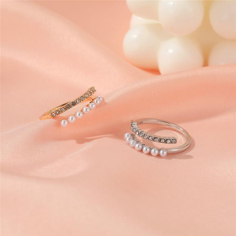 20pcs/Lot Geometric Baroque Pearl Opening Rings For Women Party Gift Hand Wearing Copper Diamond Finger Rings European Jewelry Accessories