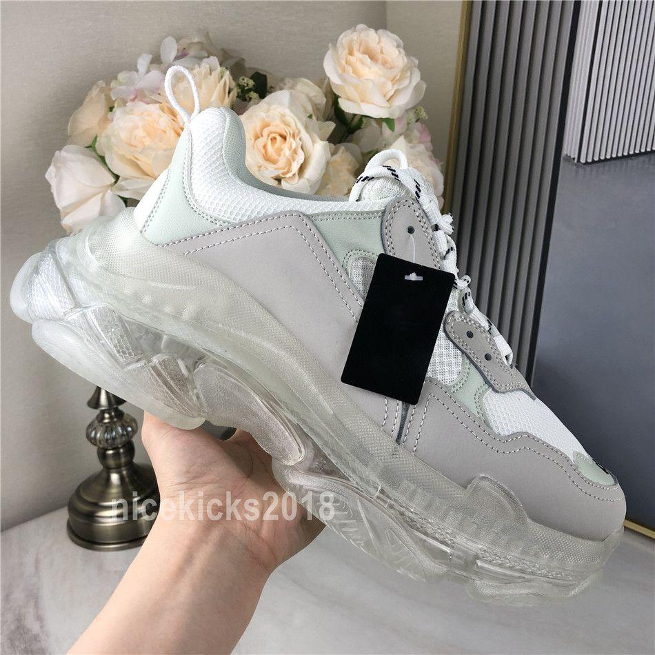 2020 Paris Freizeitschuhe Triple S Klar Sole Trainer Dad Schuhe Schuh Schwarz Maxi-Frauen der Männer Weiß beste Qualität Runners Chaussures