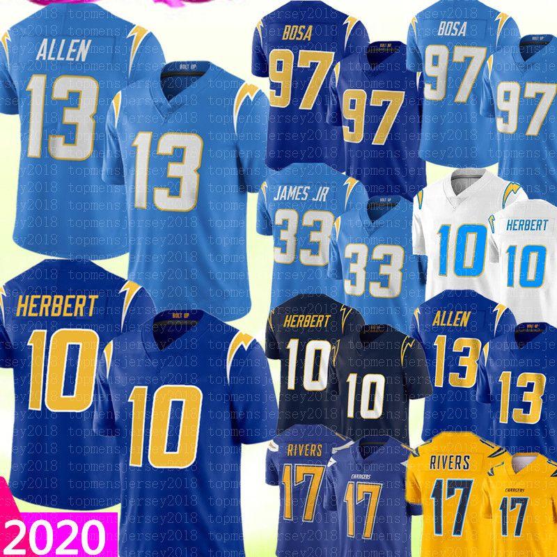 2020 LosAngelesCarregador 13 Keenan Allen 10 Justin Herbert Jersey 97 Joey Bosa 33 Derwin James 17 Philip Rivers Football Jerseys