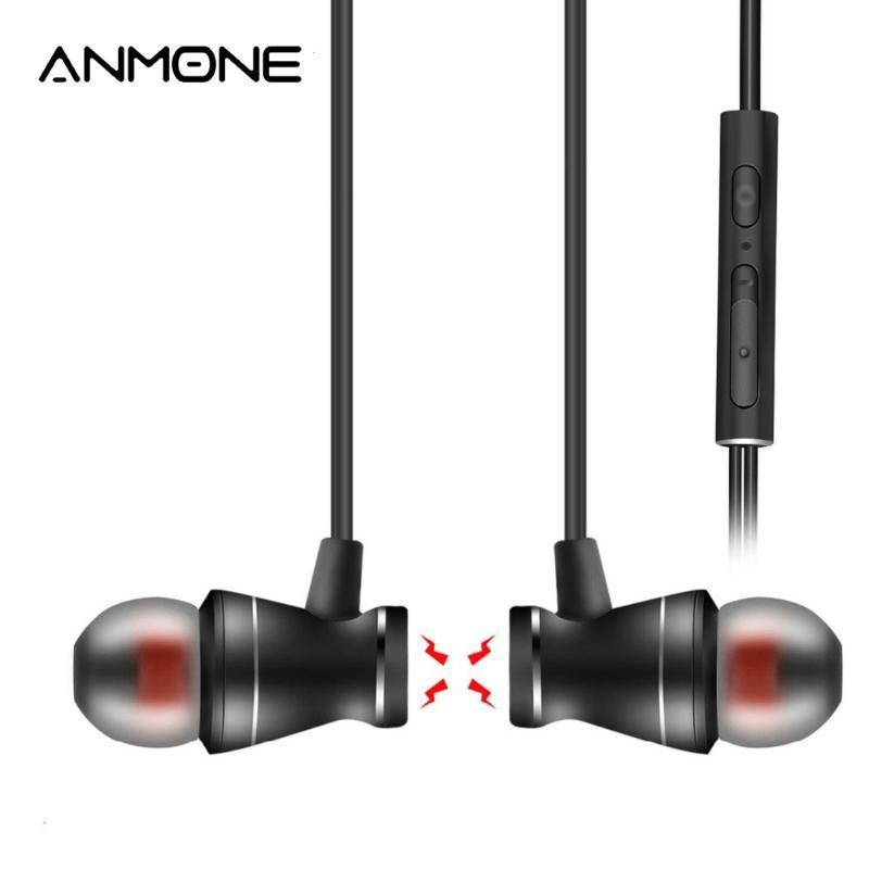 ANMONE fone de ouvido de metal magnético com microfone 3,5 milímetros na orelha Auricular mãos livres controle de volume para o telefone móvel