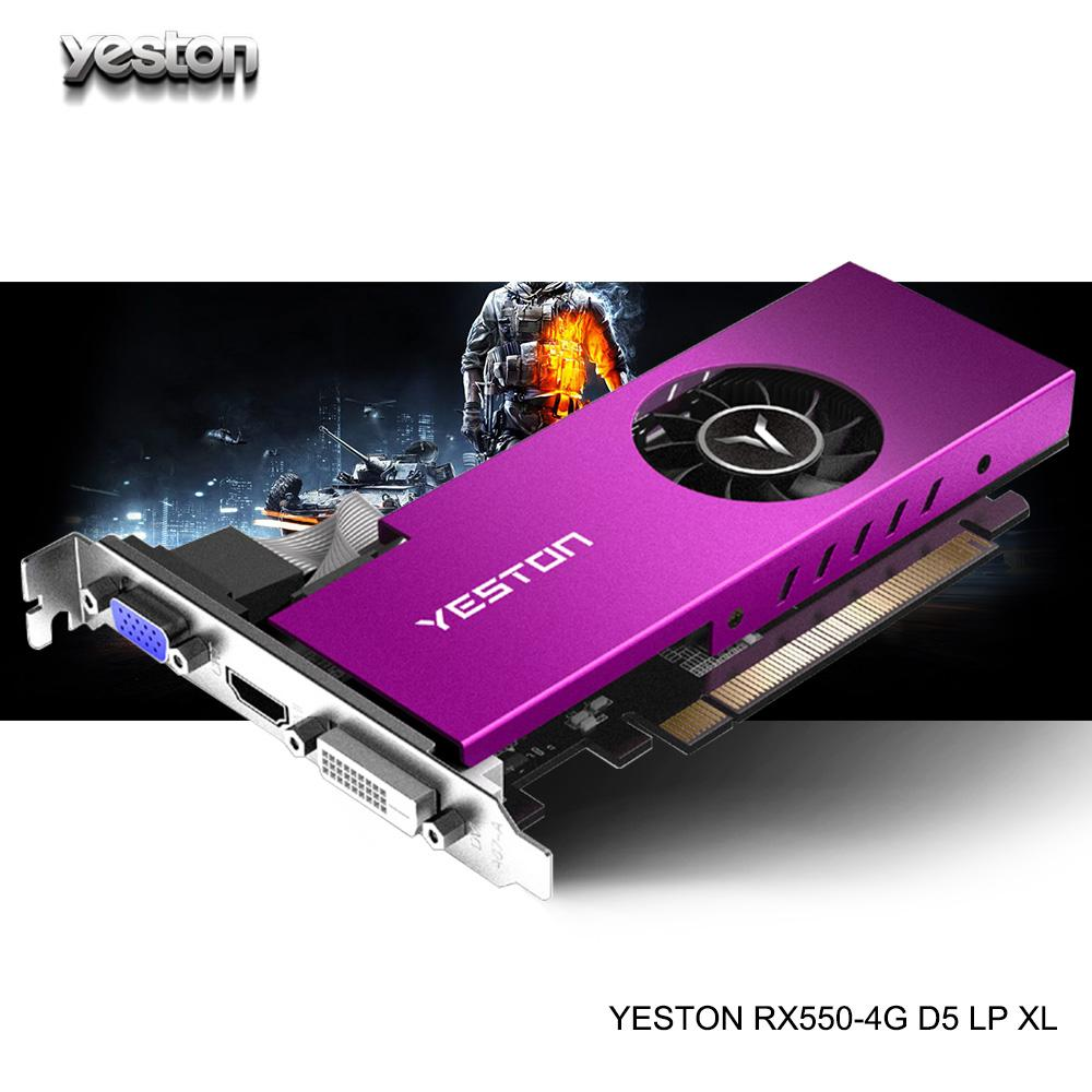 Yeston Radeon mini RX 550 GPU 4GB GDDR5 128bit Gaming Desktop computer PC Video Graphics Cards support VGA/DVI-D/HDMI PCI-E 3.0