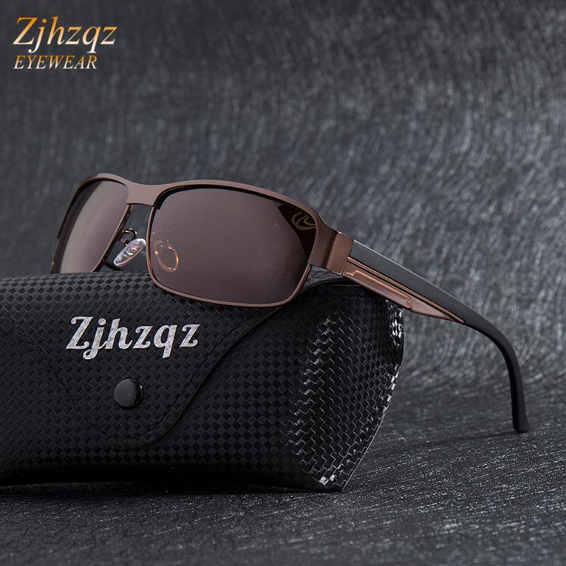 Zjhzqz moda güneş koruma UV400 erkekler için sürüş güneş gözlüğü gözlük polarize gri tonları altın gümüş siyah gözlükler kahverengi thhoc