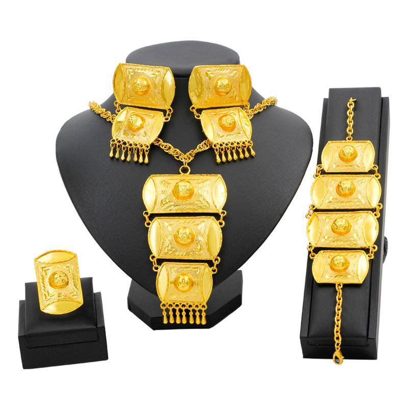Joyería de Etiopía joyería africana fija Oro de Dubai mujeres oro joyería fija los pendientes de la pulsera del collar de lujo para la boda