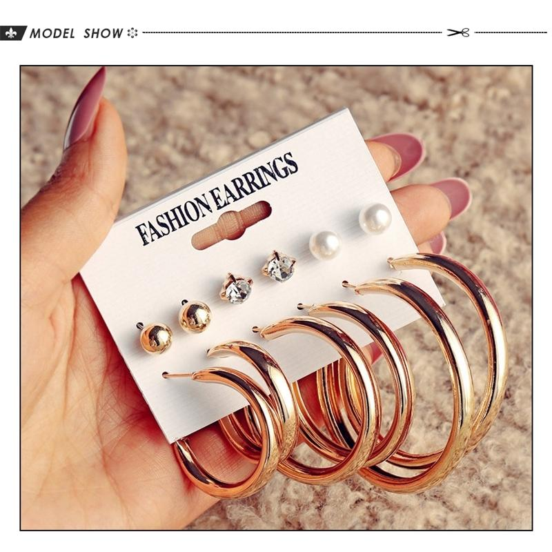 CH-525 Vintage Big metal Earrings Set For Women Geometric Circle Gold Metal Knot Earring Femme Fashion Jewelry New 200921