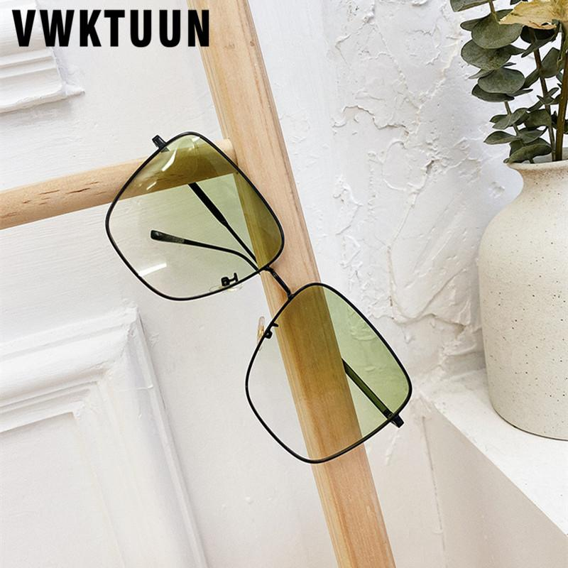 VWKTUUN Square UV400 Women Big Frame For Driver Glasses Metal Men Luxury Alloy Frame Sun Sunglasses Glasses Oversized Sunglasses Fdwcu
