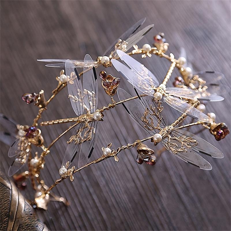 Барокко трехслойных Dragonfly Диадемы аксессуары для волос новых свадеб короны красоты коронок и тиары свадебного оголовье Y200807