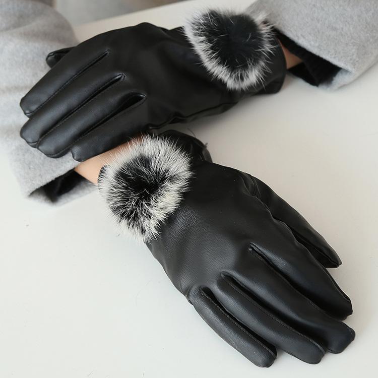 Autunno e inverno delle signore touch-screen guanti antivento-guanti di pelle calda più capelli lepre velluto pelle PU palla