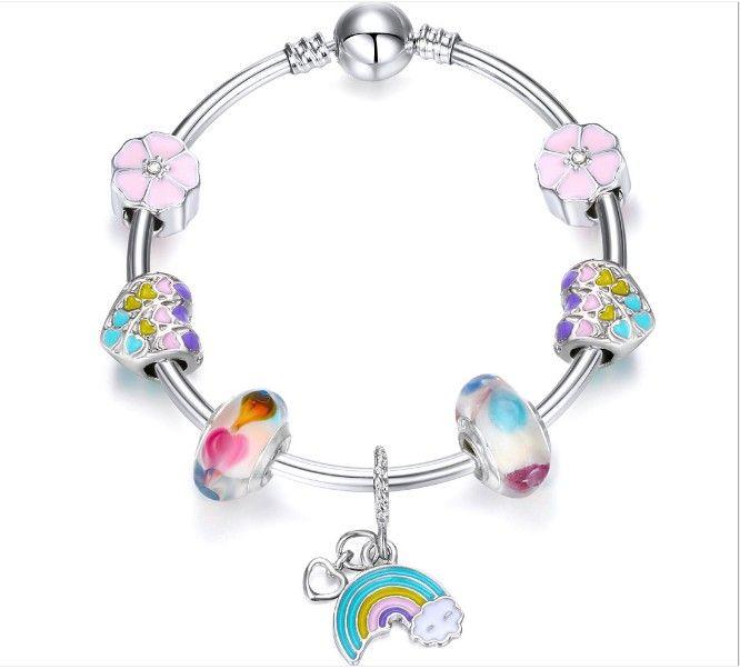En ligne Hotsale Europe Mode alliage en verre de Murano perles Charms arc bricolage Bangles Adorable femmes Pendentifs Designers Fèves de Brins