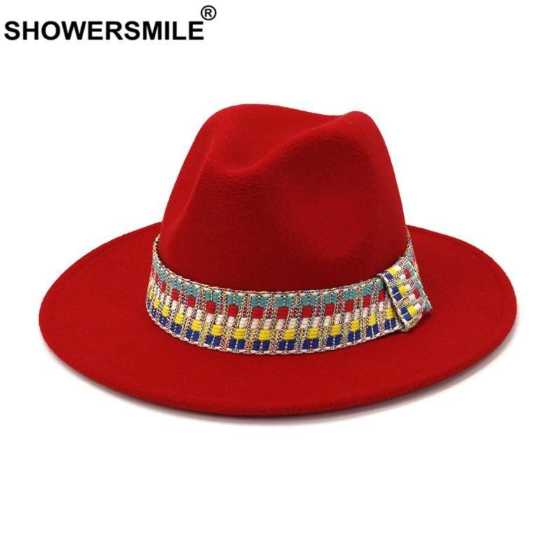 SHOWERSMILE Red Hat Fedora Inverno Panama Hat mulheres elegantes senhoras Felt Caps Vintage Outono Inverno Trilby Aba larga Fedora