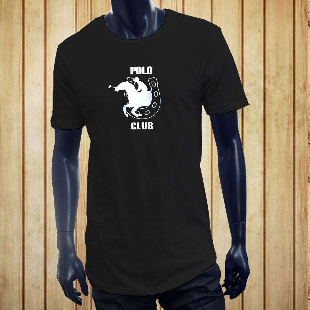 Manga curta para Extended Homens Roupa Summer Club CAVALGADA sporter EQUESTRE CHARM Homens Preto T-shirt longo Camiseta