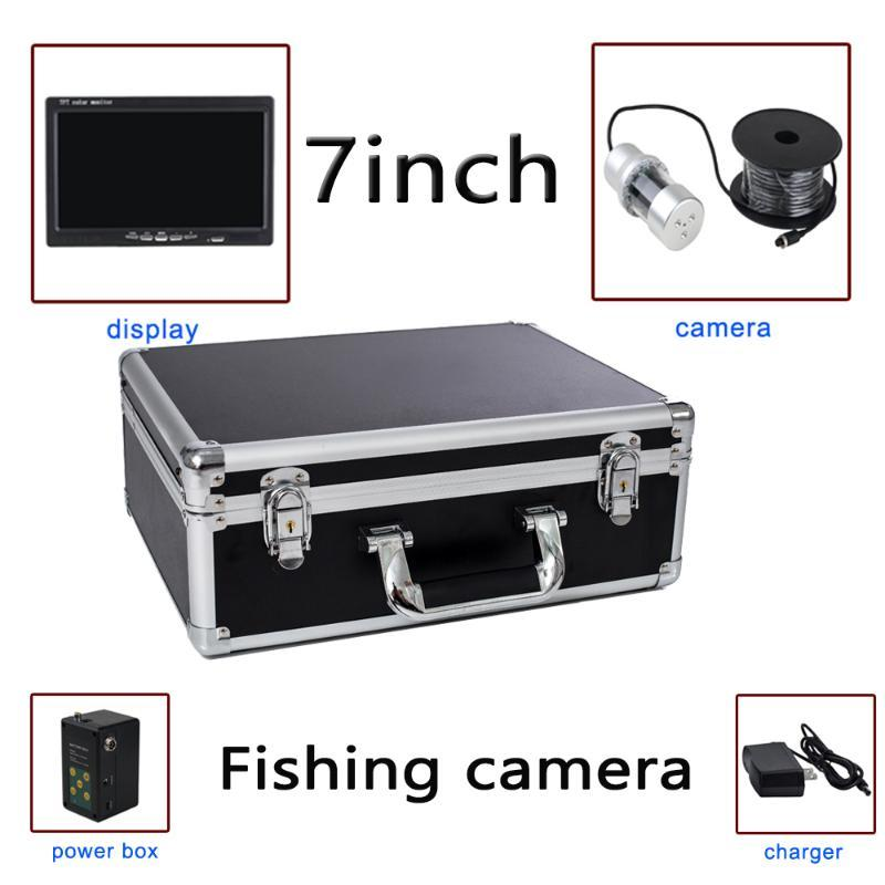 7'' 1000TVL HD 12 IR and 24 white lights underwater fishing camera/monitor system with portable case F08 support recording video