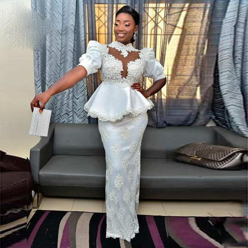 2021 Elegante Afrikanische Nixe-Abschlussball-Kleider mit Peplumn hohen Hals kurz Hülse In voller Länge Spitze Abendkleid Formal Wear vestidos