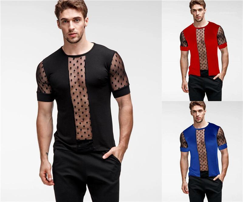 Mens Designer T-shirts Moda ver através do pescoço de grupo T-shirts Mens Summer manga curta Tops malha Patchwork