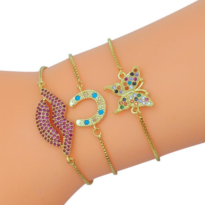 Gold Filled Cadeia Borboleta Charm Bracelet Mulheres Fazer a ligação pulso Chifre Pulseira CZ Jewelry Pulsera Lábios vermelhos do arco-íris Bangle