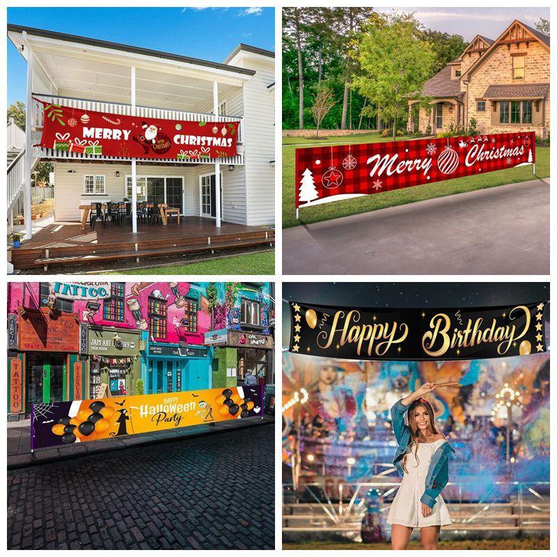 عيد الميلاد راية هالوين شبح مهرجان الملون العليا عيد ميلاد سعيد لافتات كبيرة تسجيل أعلام البيت الستار هونغ حزب ديكور DHE1061