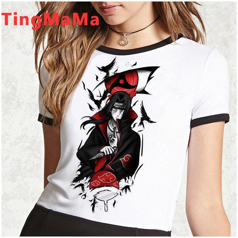 Akatsuki Naruto t shirt Mulheres Kawaii Anime japonês Itachi Graphic Tees engraçado Sasuke Harajuku Top Estética Unisex Camiseta Female 12