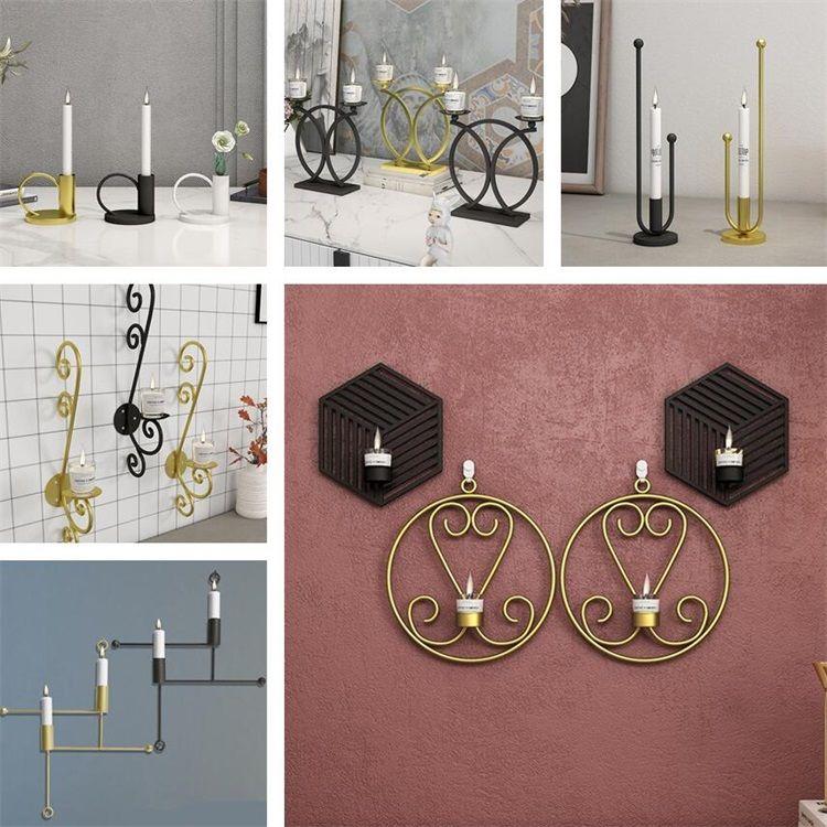 Fer Art Moderne Bougeoir 3D mural Bougeoir en métal Vintage suspendu Lumignon Home Décor Table Candlestick