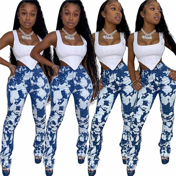 Fit Ripped Jeans Comfy estiramento Skinny Calças Lápis Casual skate Outono Mulheres calças azuis das mulheres Jeans florais Moda de Slim