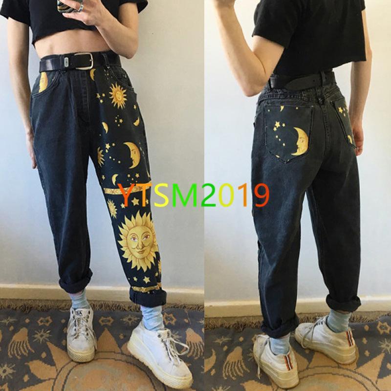 pantalones vaqueros de impresión de la manera mujeres pantalones rectos de las mujeres de cintura alta pantalones de mezclilla de alta gama versátil pantalones negros
