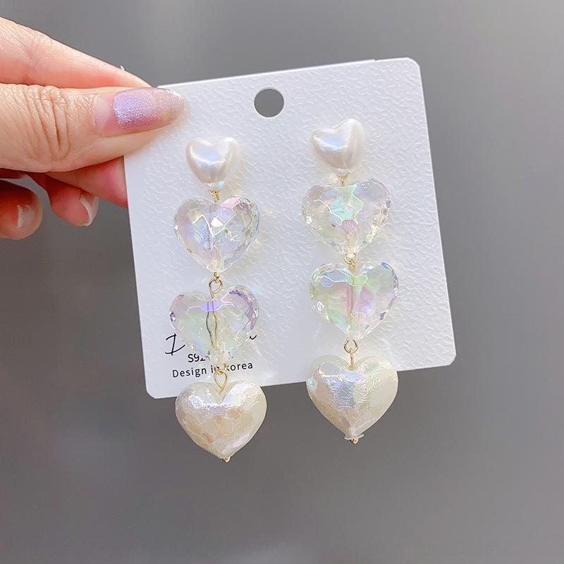 VjafM 925 Silver Pearl et Pearl style longue aiguille amour boucles d'Ruili doux colorés boucles d'oreilles personnalisées WJ