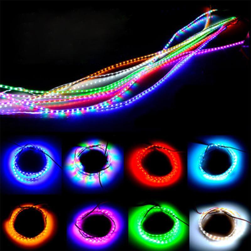 2PCS 45cm 90cm 135cm Car Flexible LED Eyebrow Strip Daytime Running Light DRL Motorcycle Light Strip Decorative Bar 12V