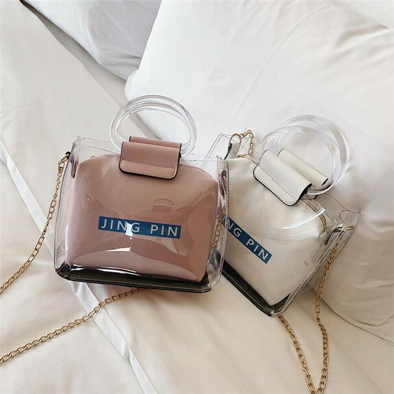 Çanta Jöle Şeffaf Çanta Moda PVC Temizle Debriyaj Çanta Tote Beach PU Kadınlar KPLTP