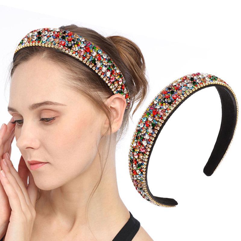 Lusso Fasce per Capelli di cristallo piena di capelli delle donne lucido colorato diamante archetto imbottito cerchio dei capelli Accessori di moda Headwear
