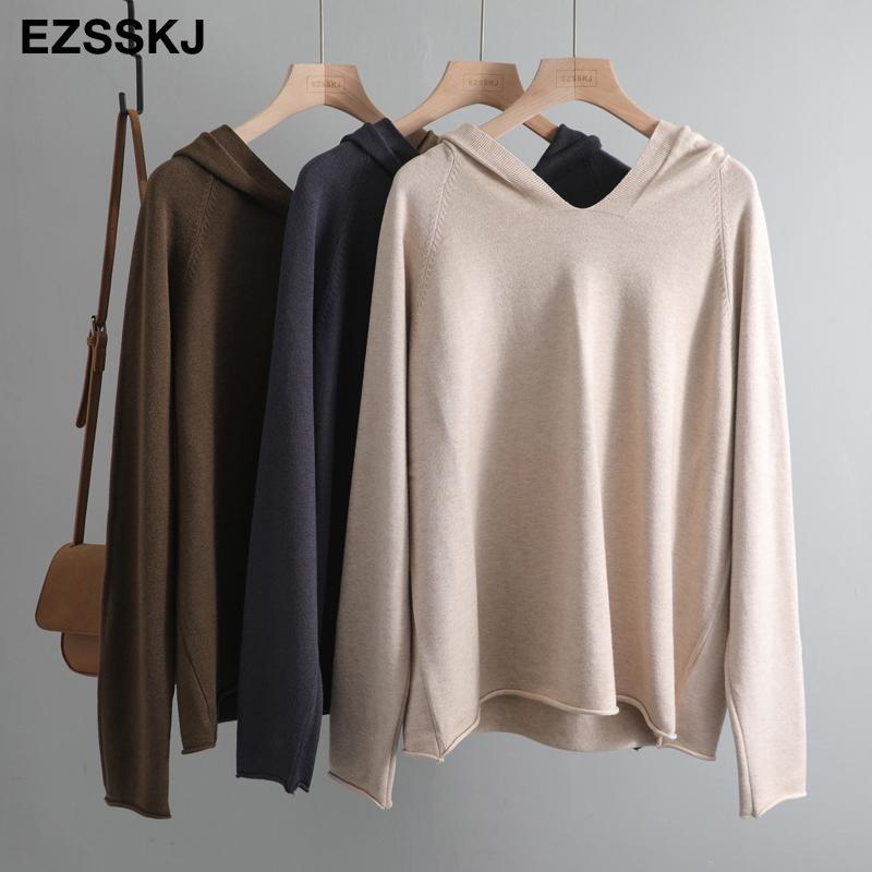 décontracté printemps automne oversize à capuche weater Pullovers de base lâche grand Y200909 cavalier tricot femme pull-over