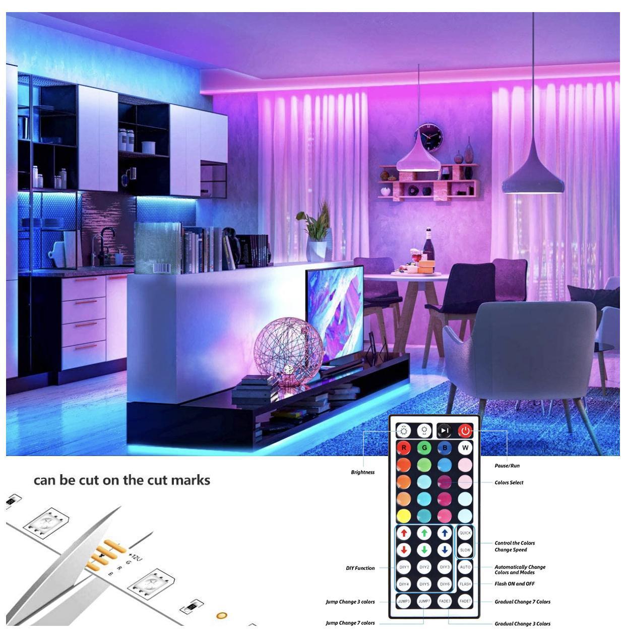 حار بيع LED قطاع أضواء RGB 16.4Ft / 5M SMD 5050 DC12V مرنة شرائط أضواء 50LED / متر 16Different ثابت الألوان