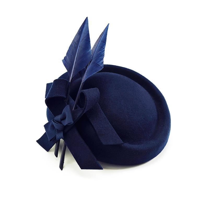Cappello donna Fedora elegante per Cap Fascinator blu di lana con piuma Royal Wedding Banquet Prom Festival Bonnet Hat Ragazze