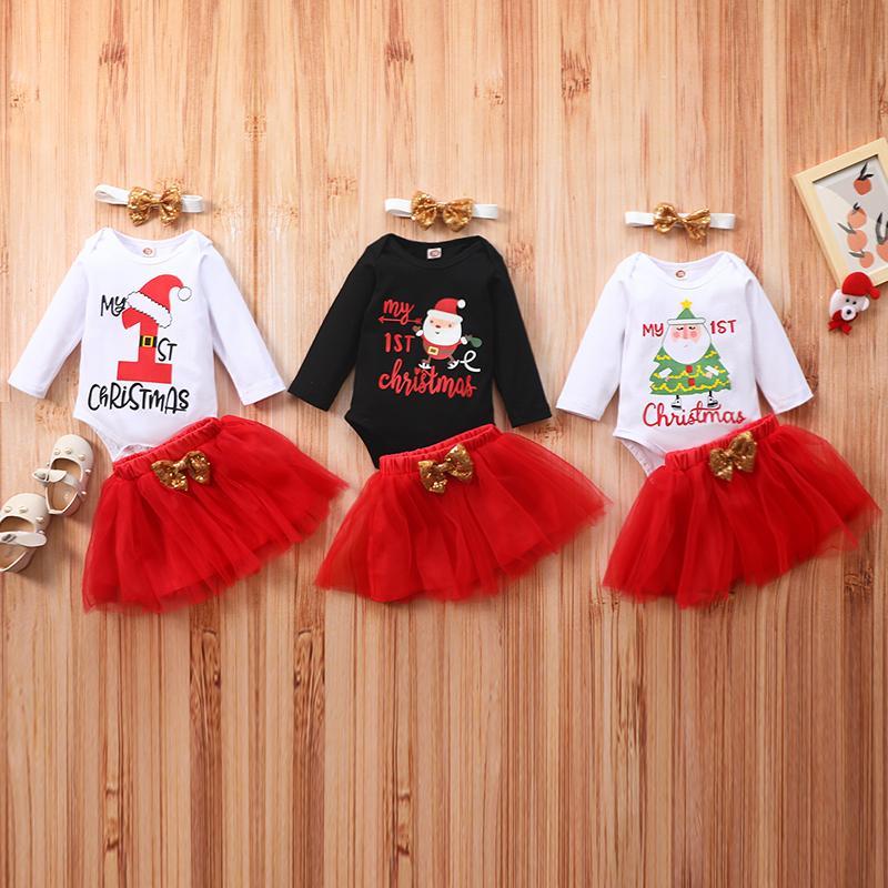 Xmas Baby Wear Abbigliamento Set Set manica lunga pagliaccetto Bow Gonna Fascia 3 Pz Moda Abbigliamento bambino Girl My 1st Natale Santa Baby Outfit Vestiti