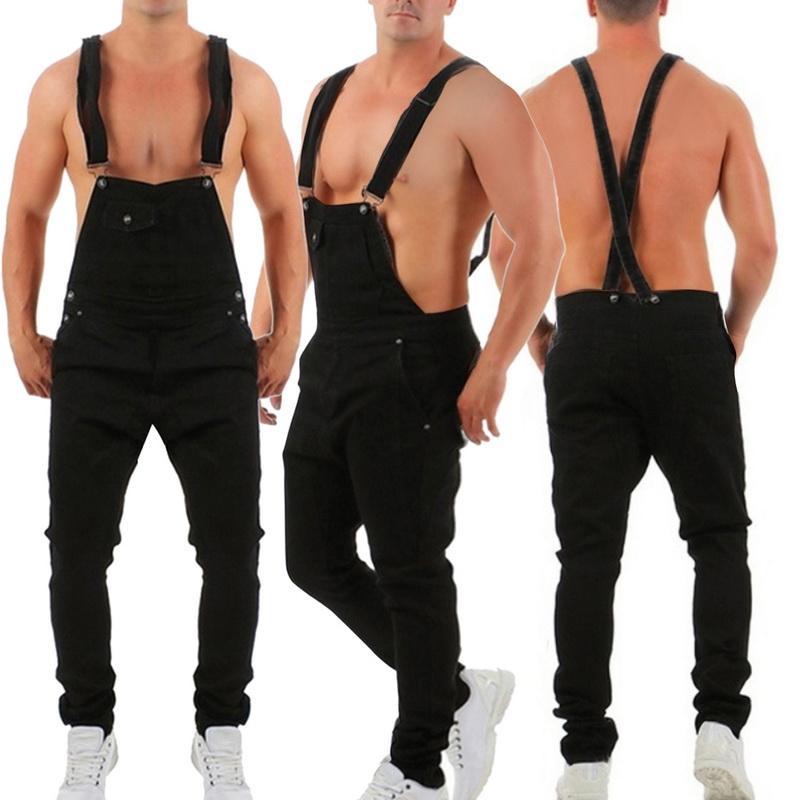 Мужские джинсы моды разорванные комбинезоны Hi Street Проблемные джинсовые нагрудники комбинезон для мужчин подвеска брюки размер S-XXXL
