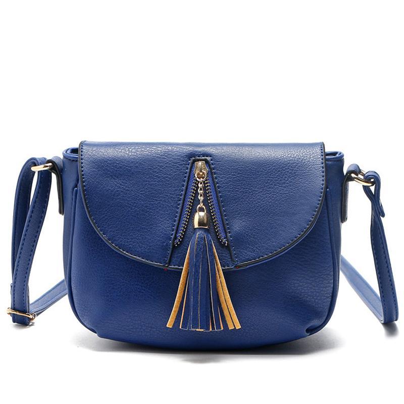 Borsa delle donne del nuovo di disegno modo delle signore frange pendente della ragazza Borsa a tracolla nappa solida copertura Croce Tide corpo Messenger Bags Pocket