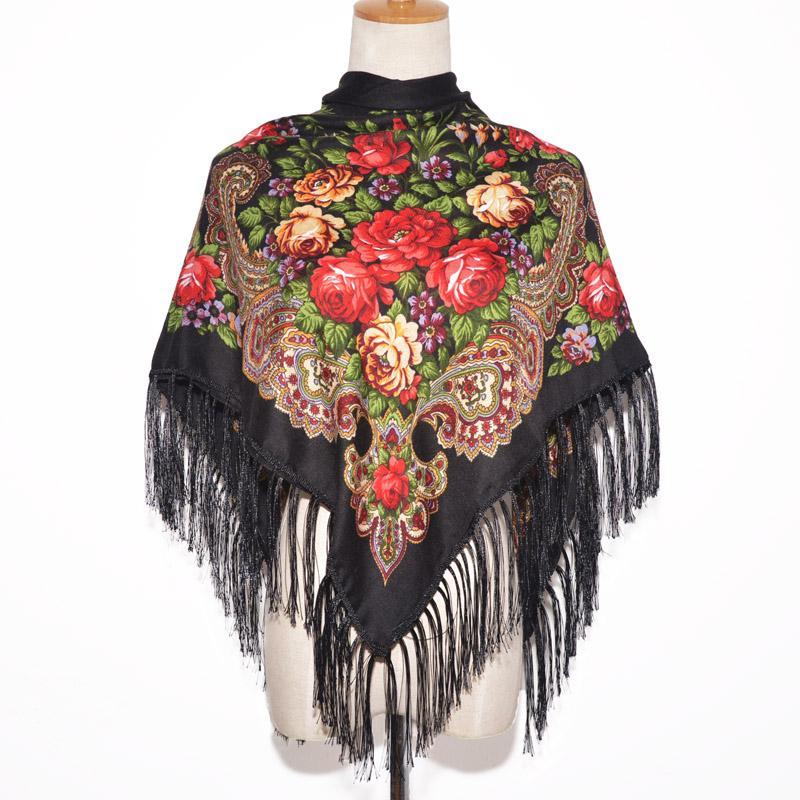 الأوشحة 2021 أزياء المرأة ساحة الشتاء التفاف وشاح سيدة شرابة باندانا شال الأزهار مصمم المعطف عقال