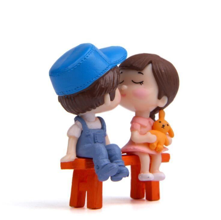 New Sweetly Lovers Couple président Figurines de collection Fairy Garden Gnome Moss terrariums Résine Artisanat Décoration