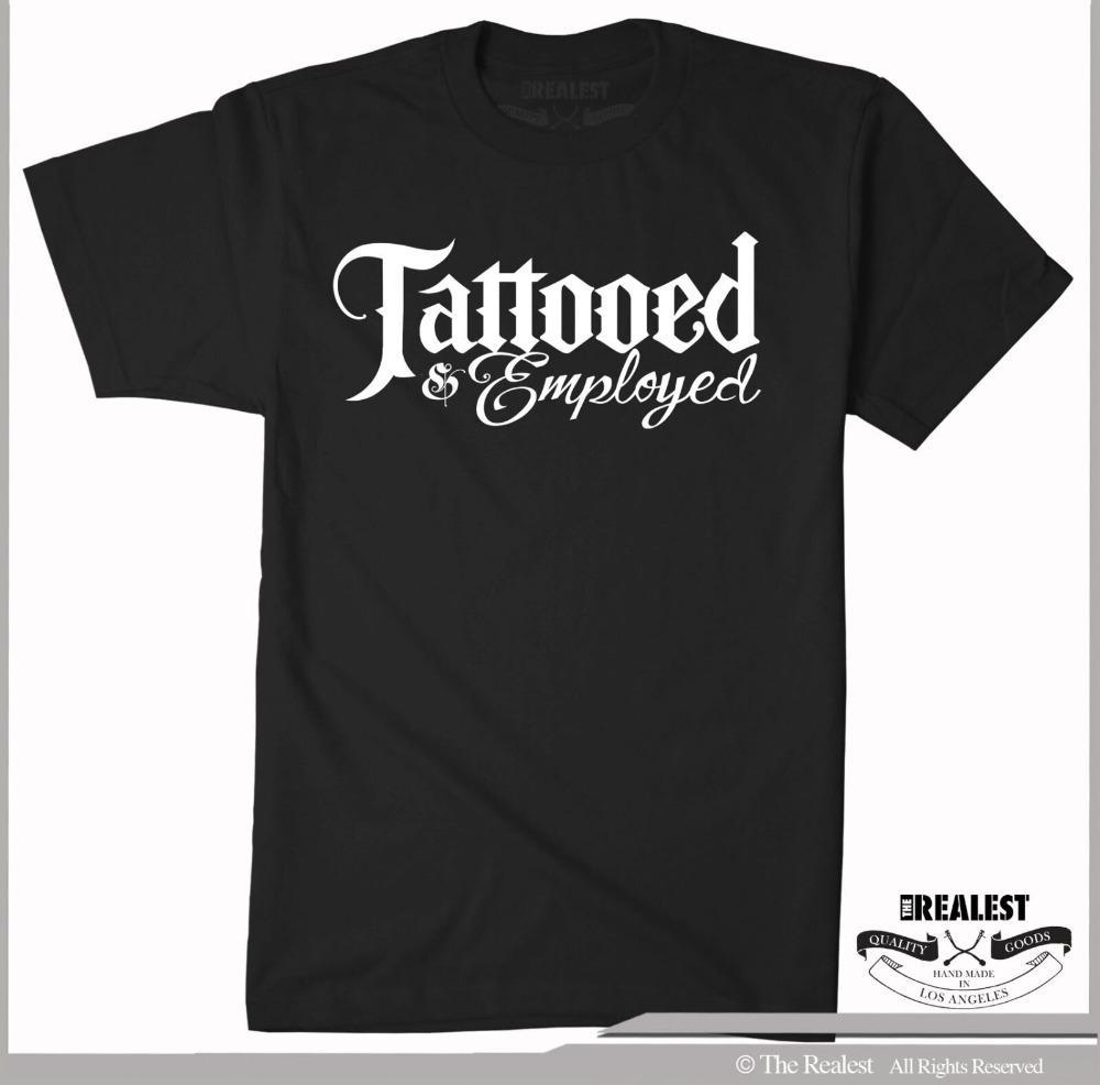 Tätowierte Employed schwarzes T-Shirt Größen M-2XL Low Rider Biker Tattoo Style 2019 Neue Männer Kleidung Qualitäts-Shirts