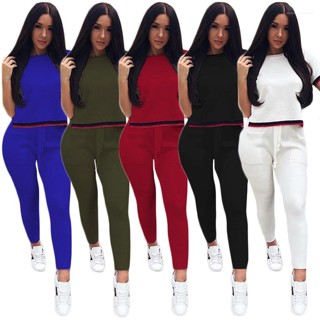 Pencil Pants Female Clothing Womens Designer Casual Tracksuits Summer Panelled Two Piece Outfit Fashion Short Sleeve