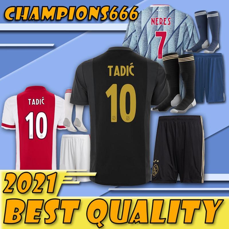 Les derniers produits !!!! kit pour adultes Ajax FC Soccer Jersey 20 21 hommes ZIYECH TADIC HUNTELAAR DOLBERG SCHONE jeunes Maillots de football costume avec des chaussettes