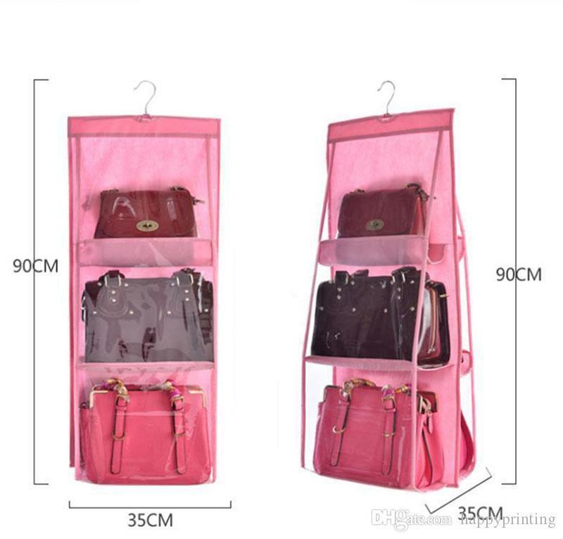 Hanger Organizer Bag Wall Door Hanging For Bag Storage Double Pouch Pocket Sides Clear Handbag Sundry Wardrobe Closet Shoe With 6 bbyDS