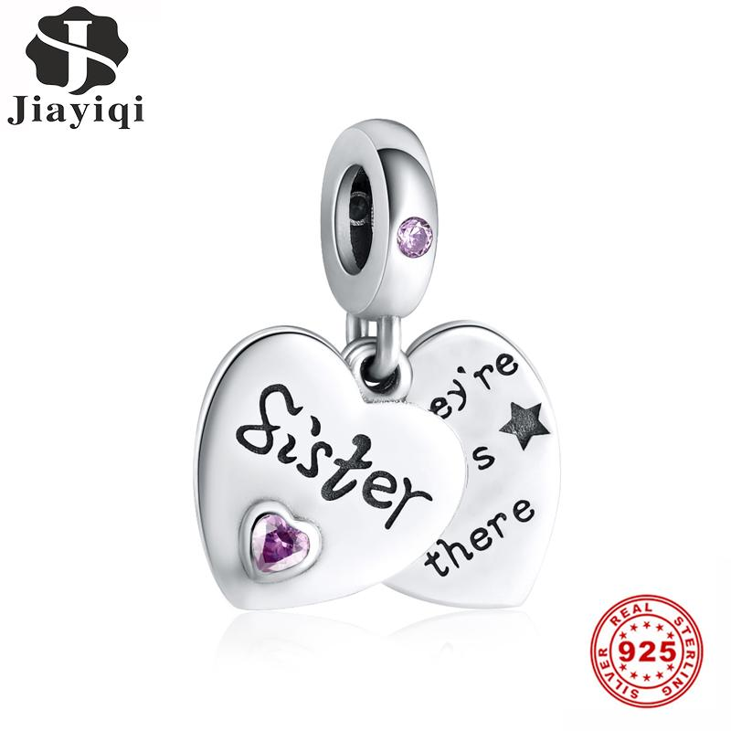 Other Jiayiqi Sister Friendship Heart-Shaped Charms 925 Sterling Silver CZ Beads Fit Women Original Jewelry