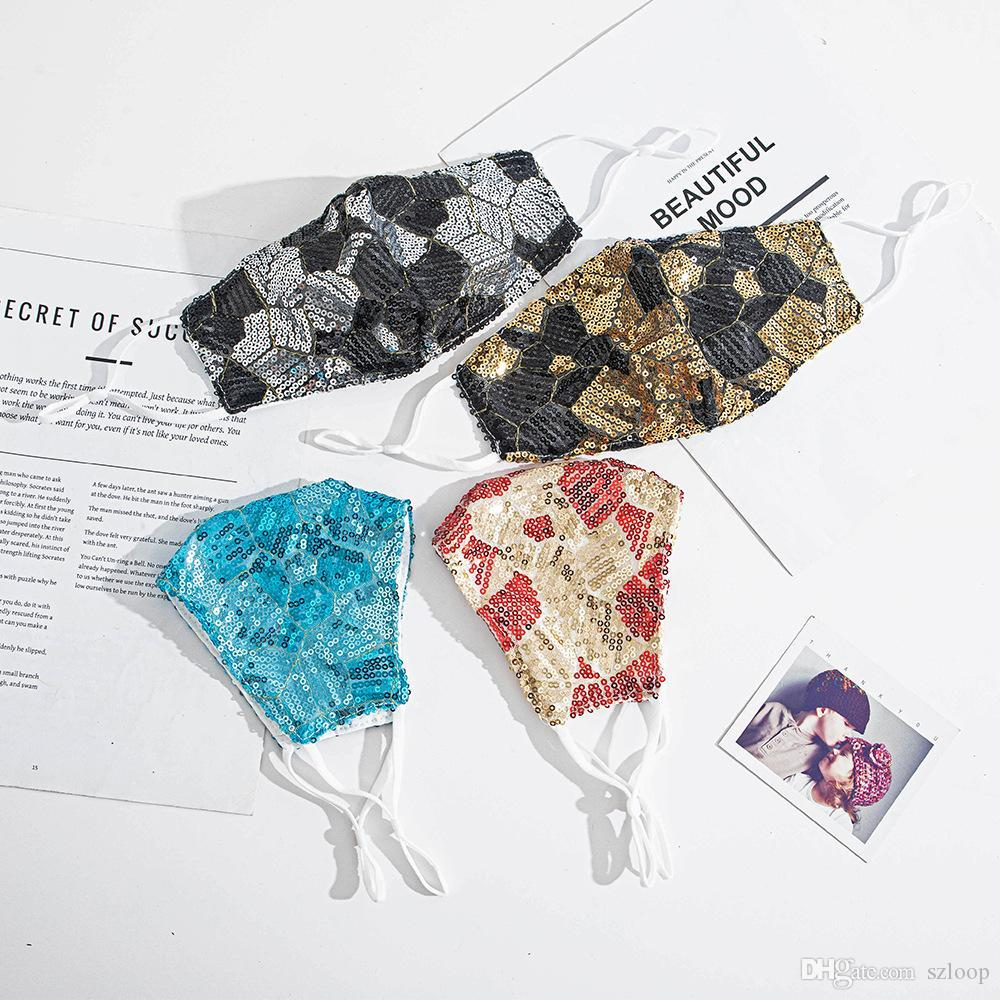 Multi-colore Bling Bling Paillettes moda Face Mask antipolvere antipolvere traspirante maschera di cotone regolabile maschere riutilizzabili rossa blu nero oro