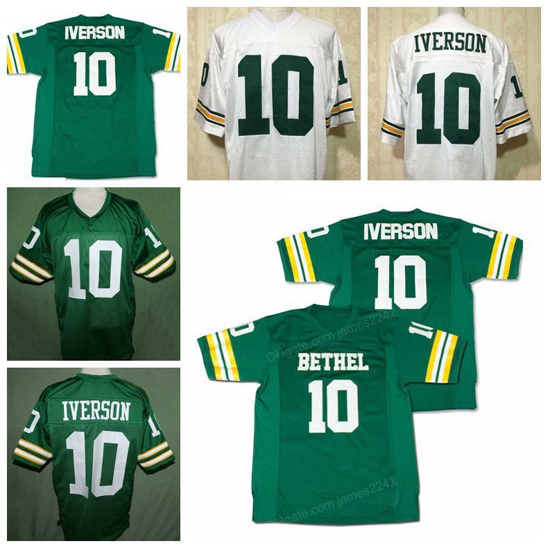 Individuelle Allen Iverson # 10 Bethel High School Football Jersey Grün genähten Weiß Grün Beliebig Name Anzahl Größe 2XS-3XL