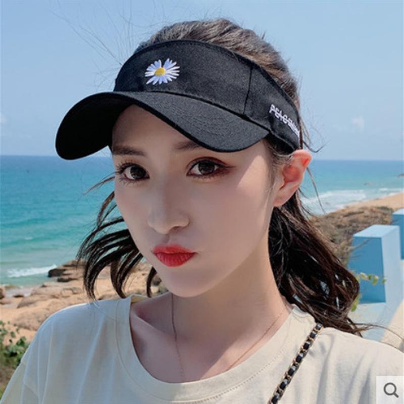 nLdXT Daisy leer-Top Sommer der Frauen bestickte Sonnenblume Hut der koreanischen Art und weise beiläufige Hut Sonnenschutz hatEmbroidered Sonnenschutz hathat
