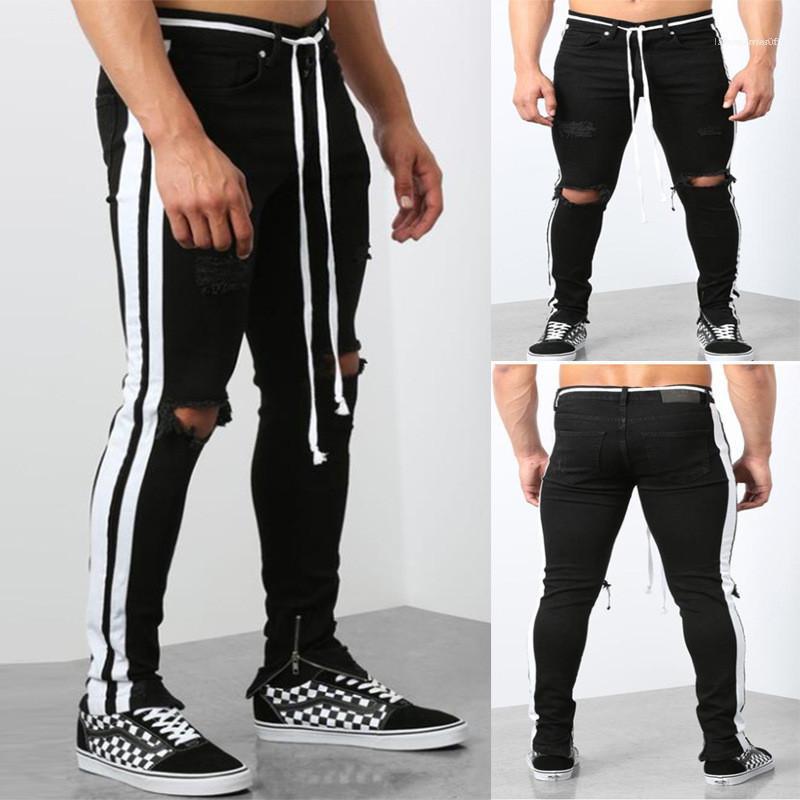 نصب منصة ممزق قلم رصاص جينز مصمم الزنانير سحاب منتصف الخصر نحيل الجينز عارضة الازياء الرجال ملابس الرجال