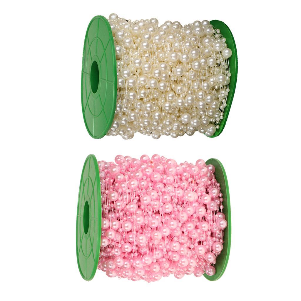 2 Roll Of DIY Craft Pearls Beads String Garland Wedding Window Decoration