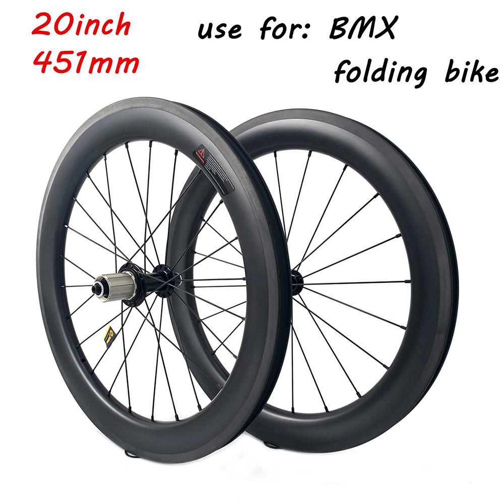 20 bicicletas dobráveis polegada carbono Rodas Powerway R17 Hub UD freio 451 milímetros de superfície 50X25mm Clincher carbono pneus para bicicleta BMX