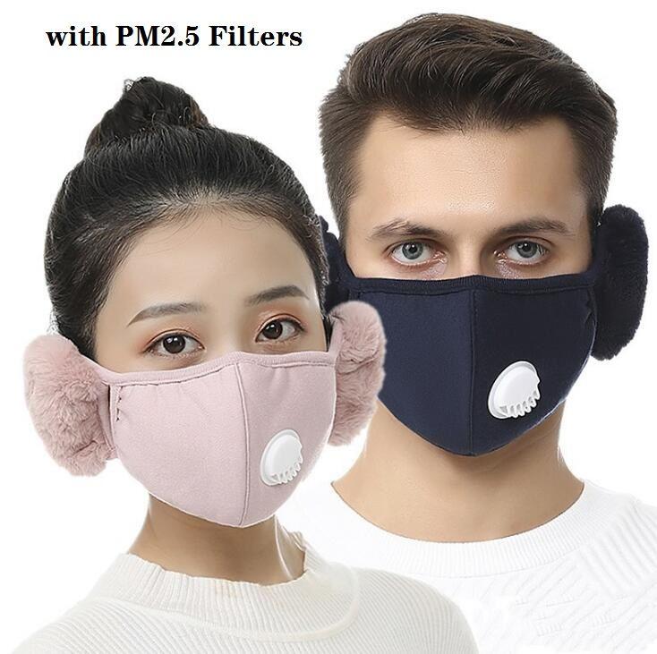 Hot 2 in 1 Gesichtsmaskenabdeckung mit Plüsch-Ohr-Schutzmaske PM2.5 Dicke und warme Mundmasken Winter Mund-Muffel-Earflap im Freien